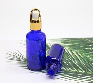 20ml 30ml bouteille en verre bleu tête de caoutchouc cosmétique bouteilles compte-gouttes bouteille d'huile essentielle DHL