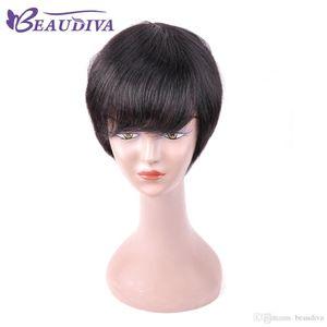 Brazilian Short Bob Human hair Wig with baby hair Pixie cut Short Human Hair Wigs For Black Women Natural Black Color