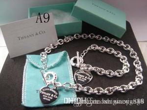 New 2018 Hot Tiff925 Silber Modeschmuck Halskette und Armband Originalverpackung Geschenk-Box A9 Set mit Kasten Freien Verschiffen