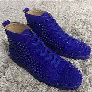 Ünlü Marka erkek Eğlence Düz Spike Yüksek Üst Sneakers Süet Deri Kadın Kırmızı Alt Ayakkabı Kadın Rahat Orijinal Kutusu Ile Yürüyüş