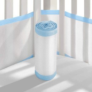 2PCS Breathable Mesh Crib Bumper Thread Gluing Detachable Crib Bumper Baby Care Lightweight Washable
