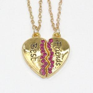 Цепное ожерелье 1 пара Best Friend Сердце Серебро Золото 2 подвески Ожерелье Bff Лучшие ожерелья дружбы Подвески