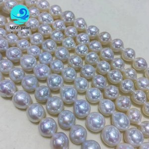 off round and drop shape 8-10mm white baroque pearls small size nucleated freshwater pearls strings for diy use