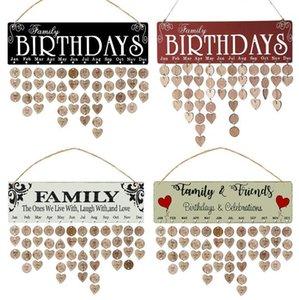 Madera feliz cumpleaños Recordatorio sesión de bricolaje Calendario Junta Crafts Pared Calendario Fecha Marca del partido decoración del hogar artículos de la novedad regalos