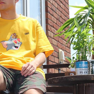 Coração 19SS KT X Tom Jerry T Gato bonito dos desenhos animados e do rato impresso Homens Mulheres T-shirt de manga curta Rua Skate Verão Tee HFYMTX569