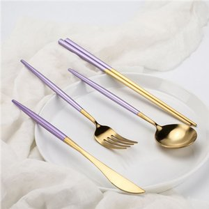 Hot Sale Stainless Steel Purple Gold Bigspoon Knife Dinner fork Teaspoon Exquisite Household Kitchen Food Tableware Set