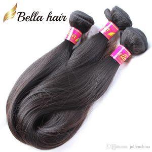 Bella Hair?8A Soft Smooth Mongolian Virgin Hair 3Bundles Remy Human Hair Weaves Natural Black Color Unprocessed Human Hair DHL Free Shipping