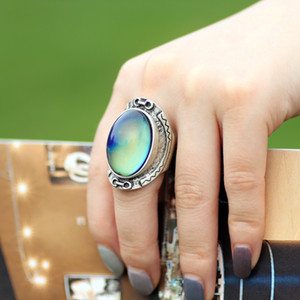 Large Real Antique Silver Plated Color Change Mood Ring Emotion Feeling Oval Stone Ring Size 7 8 9 MJ-RS033