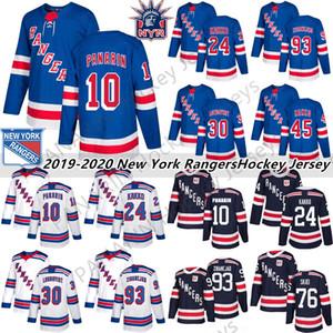 2019 New York Rangers 10 Artemi Panarin 24 Kaapo Kakko 30 Henrik Lundqvist 76 Brady Skjei 8 Jacob Trouba Hockey Jersey