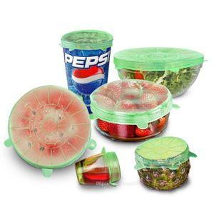 xlc alta qualidade 6PCS / Set reutilizável Silicone embrulhar alimentos frescos Manter Enrole Cozinha Ferramentas Silicone Food Enrole Seal tampa de cobertura estiramento Novas