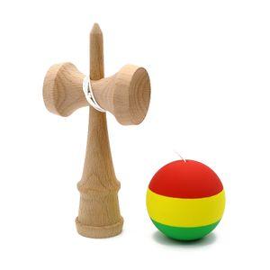 Listrado Borracha Kendama Elastic fosco Kendama Profissional de madeira Toy Hábil Juggling Jogo de bola Toy presente para crianças Adulto Y200428