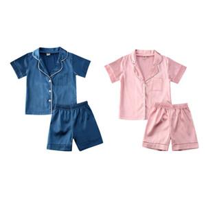 2020 New Brand Kids Baby Boys Girls Silk Pajamas Set Sleepwear Short Sleeve Shirt + Shorts Pink Blue Nightwear Outfit Set 0-6Y