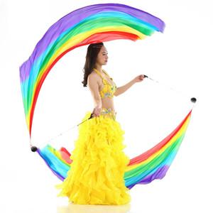 성인 오리엔탈 밸리 댄스 리얼 실크 베일 포이 스윙 스로우 볼 체인 여성용 Bellydance Costume Dancing Accessories for 2 Hands