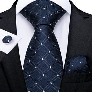 Fast Shipping Tie Set Fashion Blue Bianco Check Dot Uomo Seta Seta Jacquard Tessuto Cravatta Tessuto Pocket Quadrato Gemelli Business da sposa N-7217