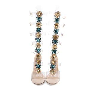 Hot Sale-Bling Donna Sandali Sandalo Stivali alti talloni sottili dei pattini di vestito di cristallo a spillo Sandali di stile della Boemia