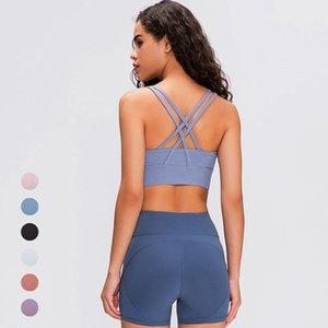 Nuevo 2020 Yoga delgada camisa de la ropa de color sólido con espalda cruzada de fugas sostén deportivo sin respaldo de yoga nuevos pequeño sujetador sin espalda femenina correas aptitud de las mujeres tops