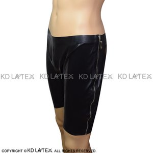 Черный Sexy Latex боксёры молниями с двух сторон Резиновые Трусы Трусы Нижнее белье Брюки Плюс Размер DK-0120