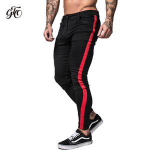 Jeans skinny a righe laterali Gingtto Uomo 2018 Jeans uomo Hip Hop Slim Fit Brand Biker Style Jeans aderenti in denim Nero Taping Maschio Zm35 Y19060501
