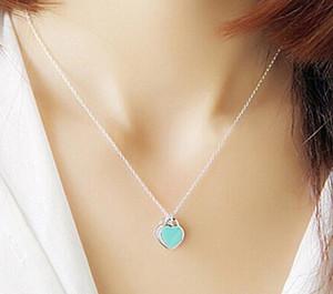 Kadınlar Kızlar Friend için sıcak satış kadın lüks mücevher Gerçek 925 Gümüş Aşk Kalp kolye kolye Düğün Hediye Zincir kolye
