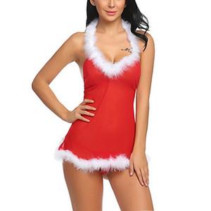 Santa Miss Halterneck fête de Noël rouge Mesh Backless Babydoll vacances avec garniture Chemise blanche floue Femmes Lingerie Sexy Panty Set XXL
