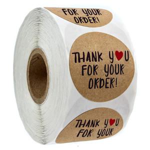 500pcs Papel Kraft gracias por su pedido pegatina corazón Gracias por compras pequeña tienda local de embalaje de regalo sticker