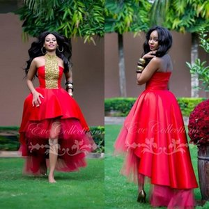 New Red High Low Inchado Africano Menina Negra Vestidos de Baile 2019 Único Ankara Plus Size Vestidos de Noite Mangas Festa