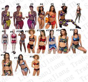 Frauen-Strand-Badebekleidung I-Form-Behälter-Weste-Push-up-BH + Shorts 2 Stück Anzug Camouflage Shark Cartoon-Badeanzug Sexy Bikini-Sätze E22908