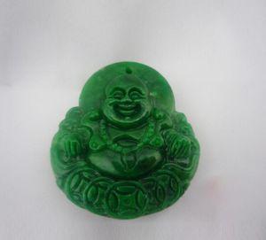 Natural Myanmar Emerald Buddha pingente Dry Blue Dragon Ferro Buda de Jade Pendant Homens e Mulheres Sun verde Buda Maitreya