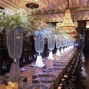 80cm / 100cm Akrilik Kristal Düğün Çiçek Topu Tutucu Masa Centrepiece Vazo Kristal Şamdan Düğün Dekorasyon Standı