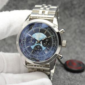 Transocean Clever reloj del hombre de los 44MM cronógrafo de cuarzo para hombre Relojes Excelente Wrtistwatches Dial Negro con la pulsera de hora mundial de acero inoxidable