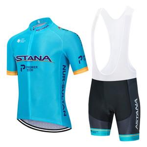 2020 Pro TAKIM Astana Bisiklet Jersey Erkek / kadın Yaz nefes bisiklet giyim MTB bisiklet forması önlük şort kiti Ropa ciclismo set