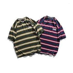 여름 캐주얼 스트라이프 커플 t- 셔츠 느슨한 짧은 소매 라운드 넥 남성 디자이너 티셔츠 남성 의류