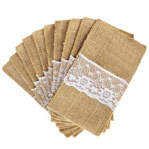 100Pcs Jute Linen Cutlery Holder Vintage Shabby Chic Jute Lace Cutlery Bag Packaging Fork and Knife Pocket Home Textiles