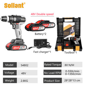 Sollant 48V Cordless Drill Electric Screwdriver Mini Wireless Power Driver DC Lithium-Ion Battery 3 8-In