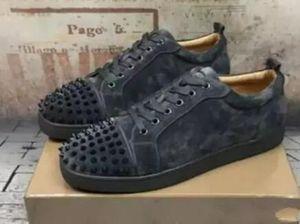 A Luxury Designers Men Low Cut Camo Men Shoes Red Bottom Sneakers Camo Rantus Shoes.Junior Lace-up Men's Flat shoes Party Dress Wedding Gift