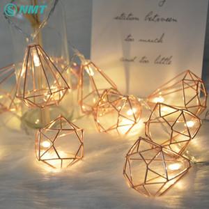 1.5M / 3M Retro Metall batteriebetriebene LED-Fee-Schnur-Licht-10/20 LED Diamant-Laterne-String-Lampe Weihnachtsweihnachtshauptdekoration Y200603