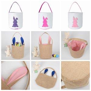 Páscoa bonito lantejoulas Basket 3D coelho Cauda Impresso Moda Sorte Egg Basket Coelho impresso Saco dos doces Baby Toy Storage Bag Baby Gift WY443HQ