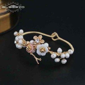مجوهرات GLSEEVO الطبيعية للمياه العذبة الباروك بيرل سوار للنساء شل زهرة الإسورة الأساور الجميلة براتشيالي GB0051