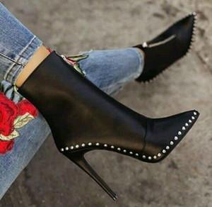 Sexy concisi delle donne eleganti stivaletti corti Super High Solid Vintage Stivali a punta le dita dei piedi Concise Inverno Grandi Dimensioni Scarpe