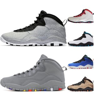 Basketbol ayakkabıları Tinker Çimento 10s erkek ayakkabı Gray Soğuk 10 erkek ben geri Toz mavi eğitmenler spor spor ayakkabıları değilim