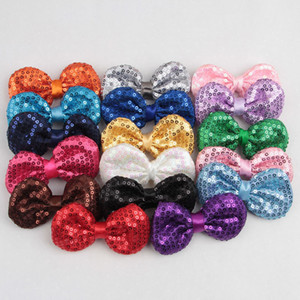 3 Inch Sequins Bow DIY Headbands Accessories Mermaid Baby Boutique Hair Bows without Alligator Clip for Girls