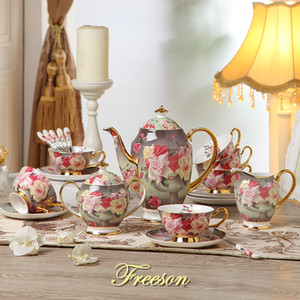 Europa Rose Vintage Bone China Coffee Set britânica porcelana Tea Set Ceramic Pot Creamer Sugar Bowl Teatime Bule Canecas do copo de café