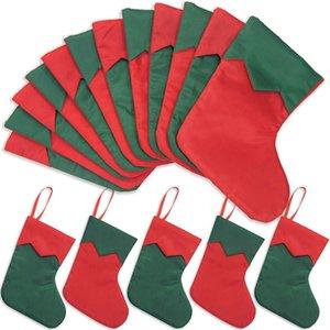 12 paquetes de 7 pulgadas sarga titular de la tarjeta mini regalo de Navidad medias, pequeña sensación rústica decoración roja conjunto de árboles de Navidad