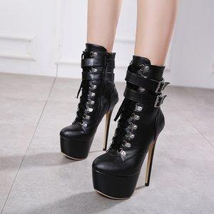 16cm Heel Punk Boots Sexy Stivaletti con tacco alto Platform Stivaletti per donna Stivali neri con punta arrotondata Lace Up Ladies Shoes