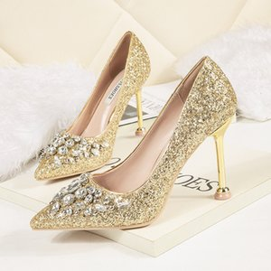 Women Shoes Pointed Toe Pumps Patent Leather Dress High Heels Boat Shoes Wedding Shoes Zapatos Mujer Rhinestone buty damskie