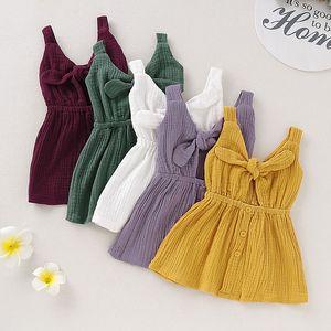 Kinder Designer Kleidung Mädchen Bogen Hosenträger Kleid Kinder einfarbig Weste Prinzessin Kleider 2019 Sommer Mode Boutique Kinder Kleidung C6629