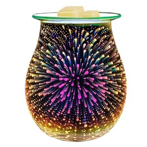 Essential Oil Diffuser Electric Candle Warmer Glass Tart Burner 3D Effect Night Light Wax Melt Warmer for Home Office Bedroom