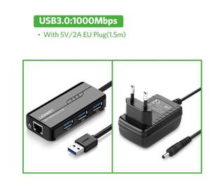 Frete grátis USB Ethernet 3.0 2.0 USB para RJ45 HUB para Xiaomi Mi Box 3 / S Set-top Box Ethernet adaptador de rede USB Card Lan
