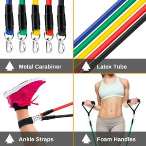 DHL Shipping 11 Pcs Set Tração da corda Gym Resistência Aptidão Bandas Muscle Building Esporte Equipamentos Yoga FY7007 elástico