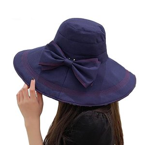 Летние широкие поля шляп Sun для женщин UV складной Packable Съемных Bowknot Регулируемой Boonie Ковш шапки
